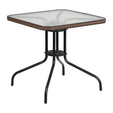 """Flash Furniture 28"""" Square Tempered Glass Metal Table With Dark Brown Rattan"""