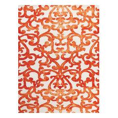 """Shibori Tie Dyed White/ Orange Hand-Tufted Rug 7'6""""x9"""