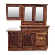 "Reclaimed Bathroom Vanity With Matching Mirror, 60""x20""x32"""