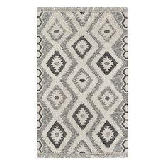 "Novogratz by Momeni Indio Sierra Hand Made Wool Black Area Rug, 7'6""x9'6"""