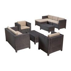 9-Pc Outdoor Sectional Sofa Set in Brown and Beige