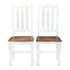 Rehoboth White and Natural Wood Cabriole Dining Chairs (Set of 2)