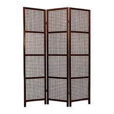 6' Tall Miyagi Shoji Screen, 3 Panel, Walnut