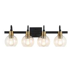Marais Iron LED Vanity Light, Black/Gold , 4 Bulb