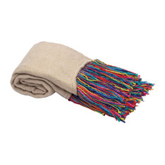 Throw With Fringes, Off White and Multicolor