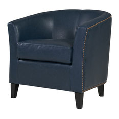 Orson Bonded Leather Tub Chair With Black Legs, Vintage Blue by New Pacific Direct Inc.