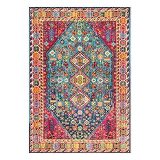 "Traditional Vintage Vibrant Meadow Rug, Multi, 5' 3""x7' 7"""
