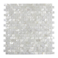 "White Brick Pearl Shell Tile, 12""x12"" Sheets, Set of 11"