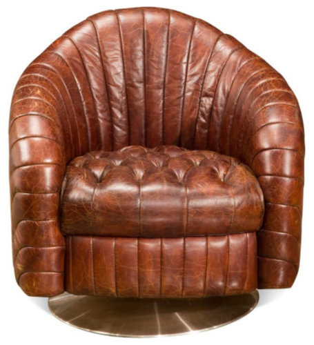 ARTeFAC   Swivel Leather Club Chair   Armchairs And Accent Chairs