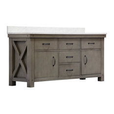 "72"" Grizzle Gray Double Sink Vanity With Carrara White Marble Counter Top"
