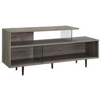 "60"" Asymmetrical Wood & Glass TV Stand Media Console, Slate Gray"