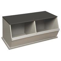 Two Bin Stackable Storage Cubby - Woodgrain/Gray