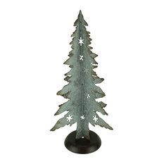 Rustic Galvanized Metal Cutout Christmas Tree 21 inch Tall