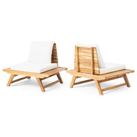 Kailee Outdoor Wooden Club Chairs With Cushions, Set of 2, White/Teak