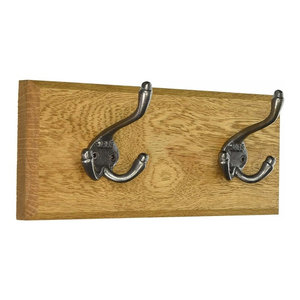 Traditional Wall Mounted Coat Rack, Oak Finish Solid Wood With 2 Hooks