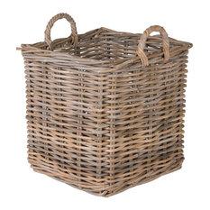 Kobo Square Rattan Basket, Gray, Large