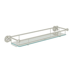 Rohl Perrin and Rowe 20-in Brass Vanity Shelf, Polished Nickel