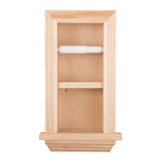 Solid Wood Recessed In-Wall Bathroom Double Toilet Paper Holder With Ledge,, Unf