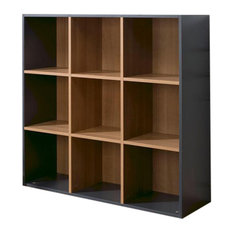 9-Compartment Wooden Shelf, Slate Grey