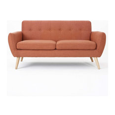Mid-Century Sofa Birch Wood With Burnt Orange Upholstery Tufted Design