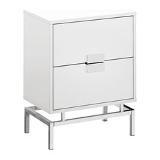 Monarch 18-inch Storage Accent End Table In White And Chrome
