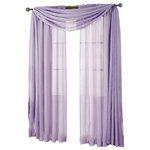 """Royal Tradition - Abri Single Rod Pocket Sheer Curtain Panel, Lavender, 50""""x96"""" - Want your privacy but need sunlight? These crushed sheer panels can keep nosy neighbors from looking inside your rooms, while the sunlight shines through gracefully. Add an elusive touch of color to any room with these lovely panels and scarves. Sheers enhance the beauty of windows without covering them up, and dress up the windows without weighting them down. And this crushed sheer curtain in its many different colors brings full-length focus to your windows with an easy-on-the-eye color. These rod pocket crushed sheer panels are versatile enough to go from simple to elegant easily. The Abripedic Crushed Sheer Curtain panels are soft to the touch and adds a breezy relaxed look to any sort of d̩cor. This beautiful, solid-colored sheer curtain lets light gently filter through. Clean, simple one-pocket pole top design can be used with a standard or decorative curtain rod."""