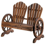 """Wrought Iron Haven-SL - Fir Wood Wagon Wheel Couples Garden Chair - Fir Wood Wagon Wheel Couples Garden Chair :: Spend some quality time outdoors with this incredibly charming rustic bench. It features wagon wheels book-ending a wooden seat with classic flared backs. It's the best seat to enjoy starry nights and warm days!. Product Size:44"""" x 24"""" x 35.5"""" high. Product Material:Fir wood. Package Contains:1 Ea. Product Weight:40 lb"""