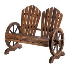 Fir Wood Wagon Wheel Couples Garden Chair