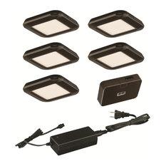 Vaxcel Smart Lighting Low Profile Under Cabinet Puck Light 5-Pack Kit, Bronze