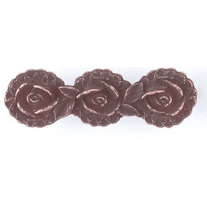 """Cabinet Pull Antique Copper Solid Brass Flower 3 1/2"""""""