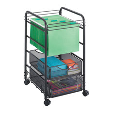 Safco Products   Onyx Mesh Open File Cart With 2 Storage Drawers   Office  Carts And