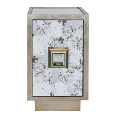 Worlds Away Savannah Side Table Cabinet Silver