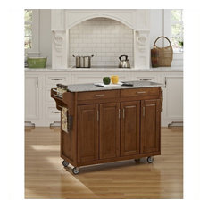 """Homestyles Create-a-Cart 49"""" Granite Top Kitchen Cart in Cottage Oak"""