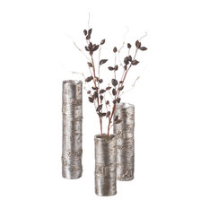 Silver Branch Antique-Style Vases, 3-Piece Set