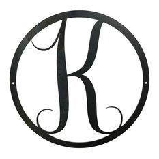Large Monogram K Circle Door Hanger, 18 Raw Metal