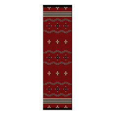 Big Chief Runner Rug, Red, 2'x8'