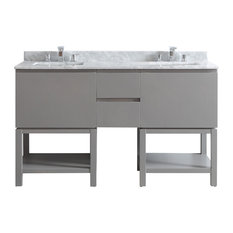 "Venzia Vanity, Gray, 60"", Carrara Marble, Without Mirror"