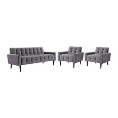 Modway Delve Living Room Set Velvet Set Of 3 With Gray Finish EEI-2970-GRY-SET