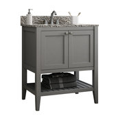 Vanguard Bathroom Vanity With Open Shelf Bottom, Dove Gray, 24""