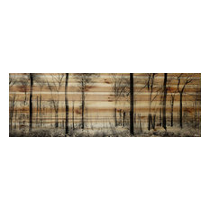 """""""Panoramic Forest"""" Painting Print on Natural Pine Wood, 60""""x20"""""""