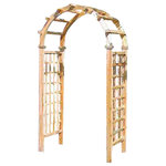 """Master Garden Products - Cedar Wood West Arbor, 48""""'Wx84"""" - The West Arbor is a classic rose arbor featured in English gardens, with its elegant round top and two heavy side panels built with white cedar. The lattice in the side panels are glued and nailed into dado channels on the sides of the panels. Side panels are pre-assembled and can be put together with the top arc unit with 8 bolts and nuts. The side panels are recessed cut, the lattices are inserted into the post. Coated with natural tung oil, providing stable outdoor protection for your arbor for years to come."""