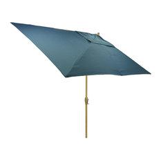 6.5x10' Rectangular Outdoor Patio Umbrella with Natural Pole, Blue