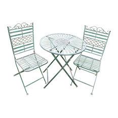 """Tea With Sophia"" Green 3-Piece Outdoor Bistro Table Set"