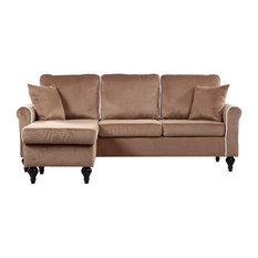 Divano Roma Furniture Traditional Small E Velvet Sectional Sofa With Reversible Chaise Champagne