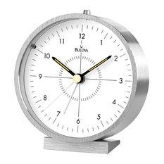 bulova bulova flair alarm clock aluminum case and base beep alarm glass