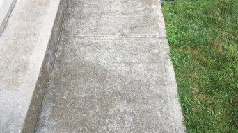 Power wash concrete patio