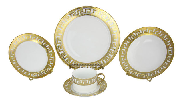 Greek Key Versace Gold Inspired 40 Piece Dinnerware Set  sc 1 st  Houzz & Greek Key Versace Gold Inspired 40 Piece Dinnerware Set ...