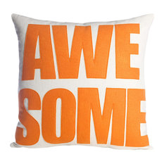 """Awesome"" Throw Pillow, Cream Canvas and Orange"