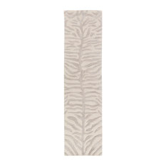 Pollack Hide, Leather and Fur Gray, Ivory Area Rug, 2'x8' Runner