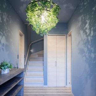 Idéer för lantliga entréer, med grå väggar, plywoodgolv och grått golv
